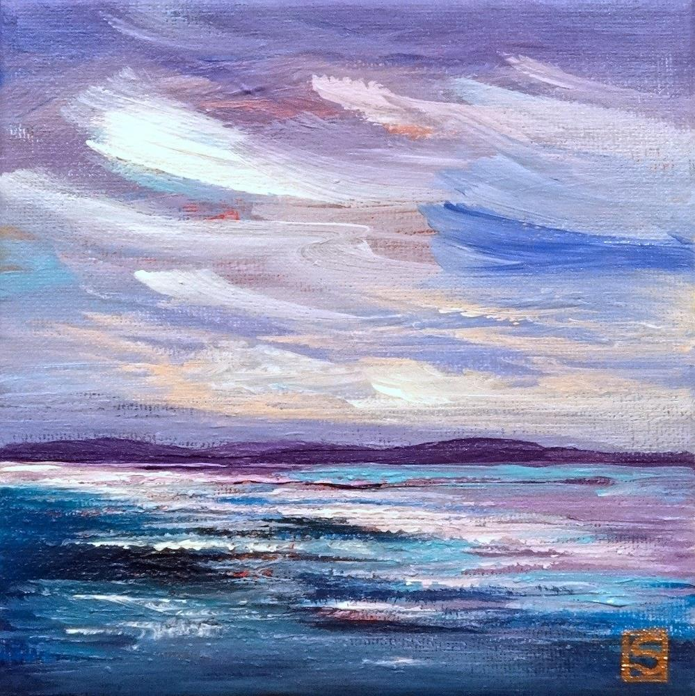 """5014 - Moonlight on Water - Miniature Masterpiece"" original fine art by Sea Dean"