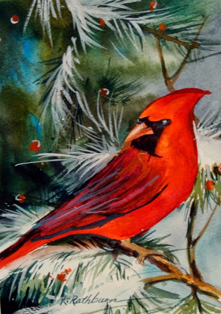 """Cardinal I"" original fine art by Kathy Los-Rathburn"