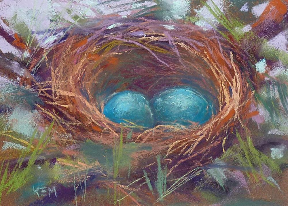 """What We Can Learn From Painting a Bird's Nest"" original fine art by Karen Margulis"