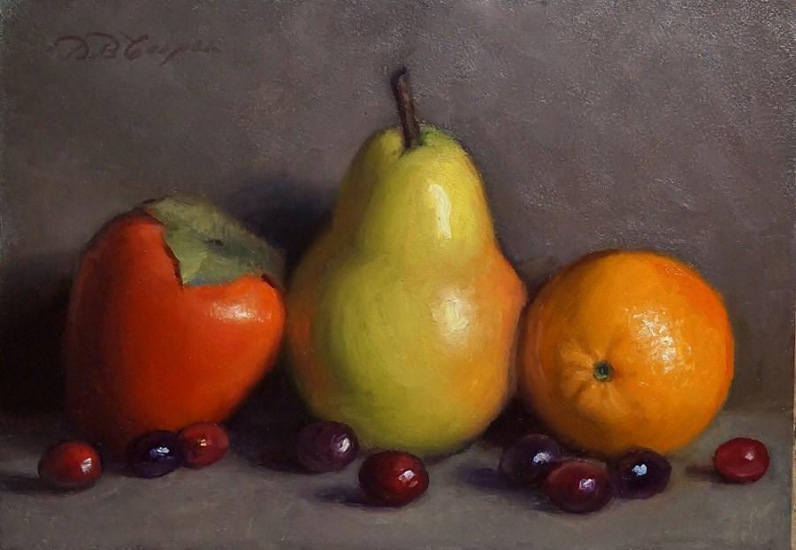 """Persimmon, Pear and Tangerine with Cranberries"" original fine art by Debra Becks Cooper"