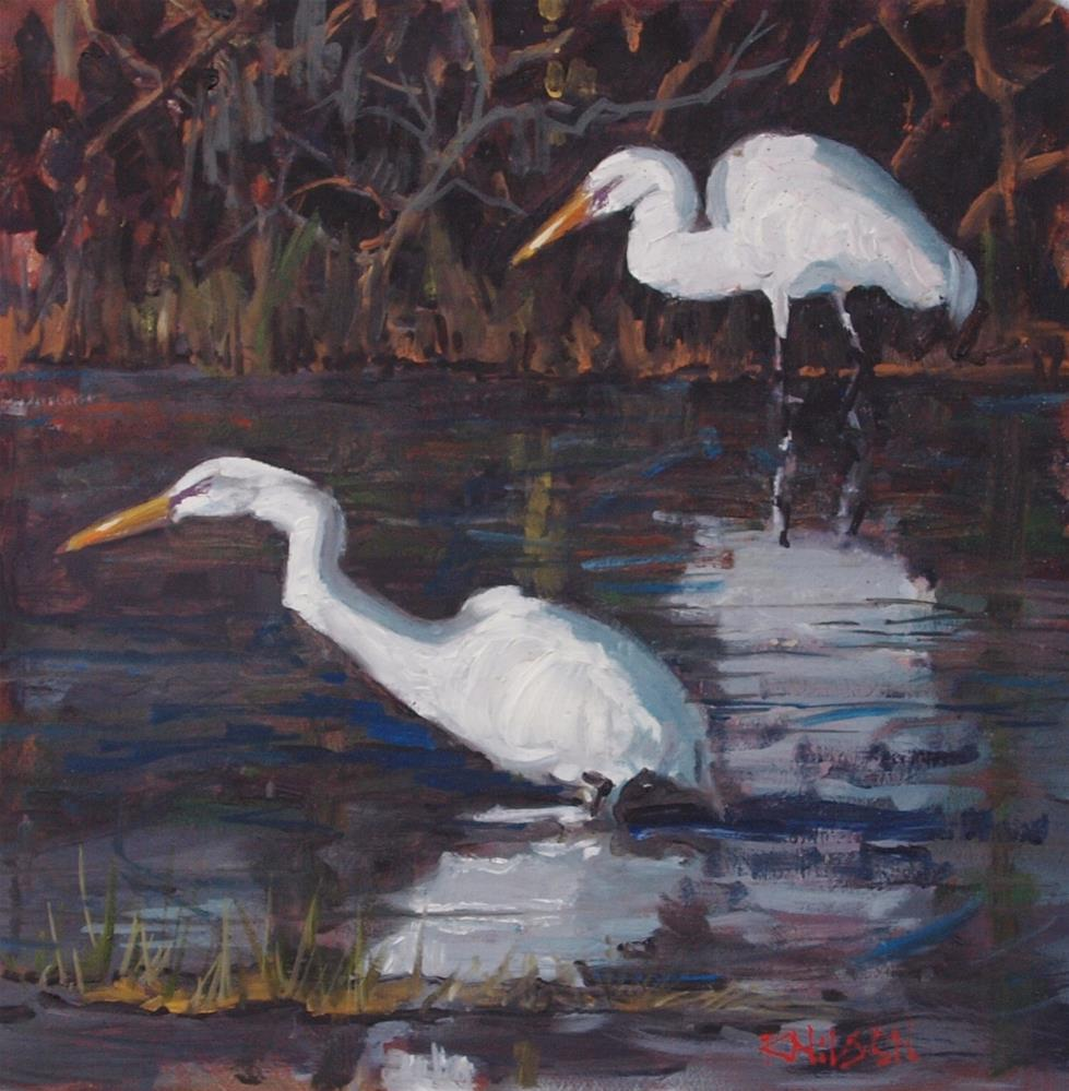 """Egrets"" original fine art by Rick Nilson"