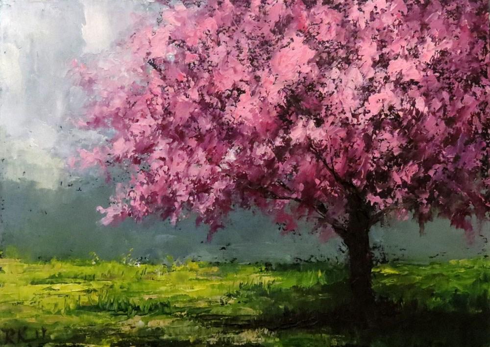 """""""Cherry Blossom Shade Tree"""" original fine art by Bob Kimball"""