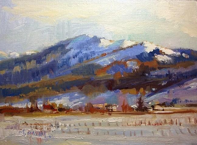 """Snowy Homestead - north of New Meadows Idaho"" original fine art by Mary Maxam"