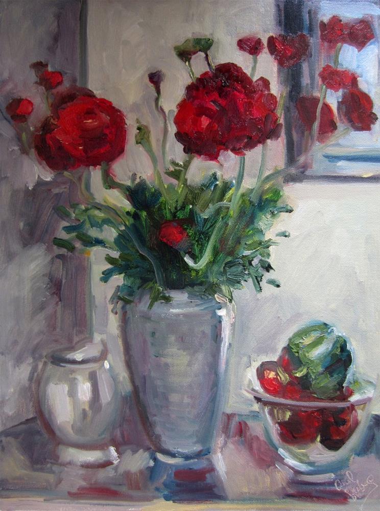 """Ranunculi on the Kitchen Counter"" original fine art by Carol Steinberg"