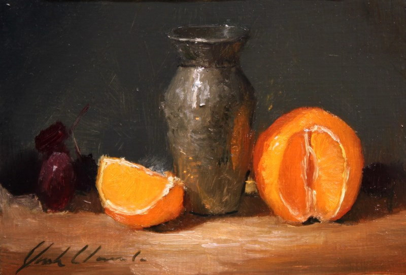 """""""Orange and silver - Framed - frame handmade by the artist."""" original fine art by Justin Clements"""