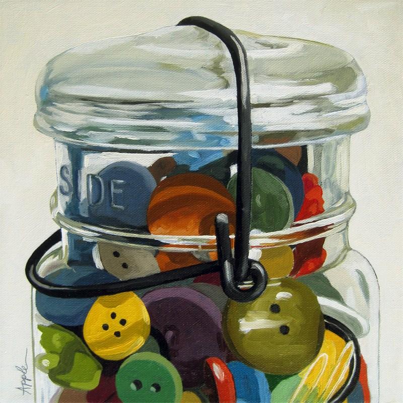 """Old Button Jar - realistic still life"" original fine art by Linda Apple"