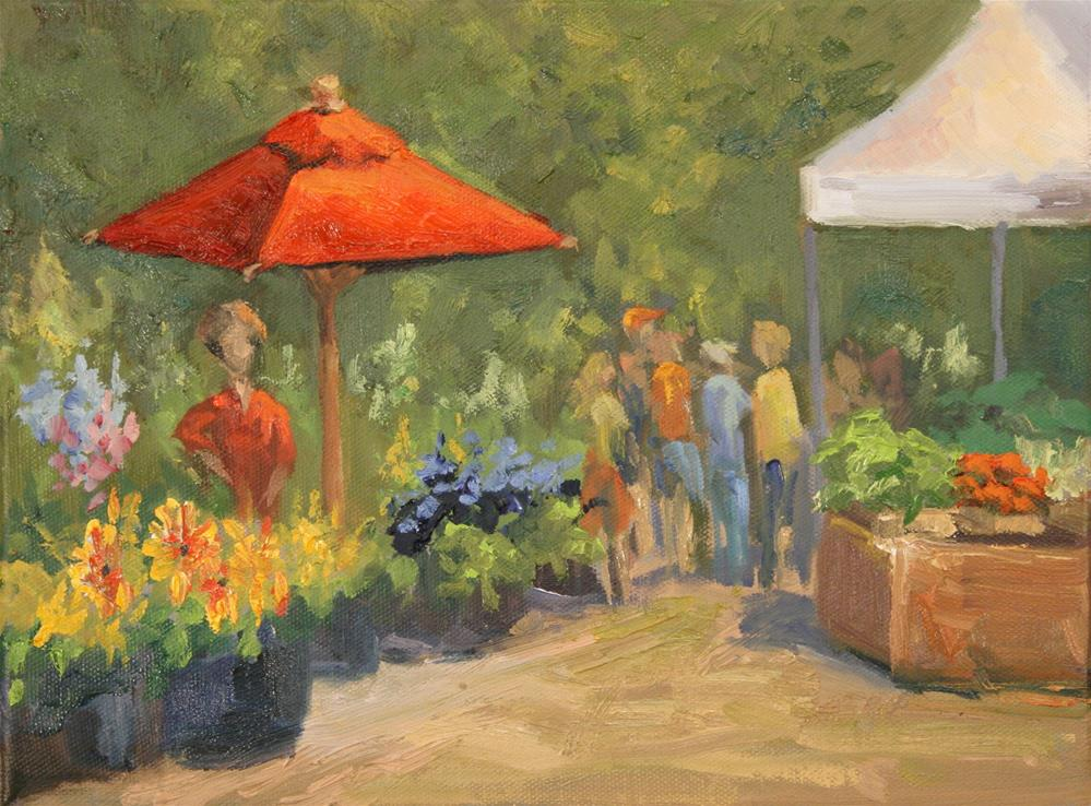 """MARKET FLOWER SALE"" original fine art by Karen E Lewis"