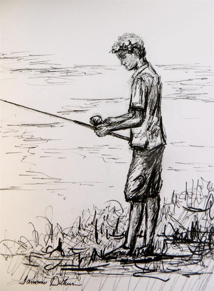 """Fishing - sketch"" original fine art by Tammie Dickerson"