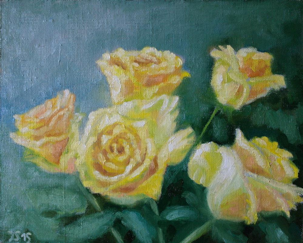"""5 yellow roses"" original fine art by Yuriy Semyonov"