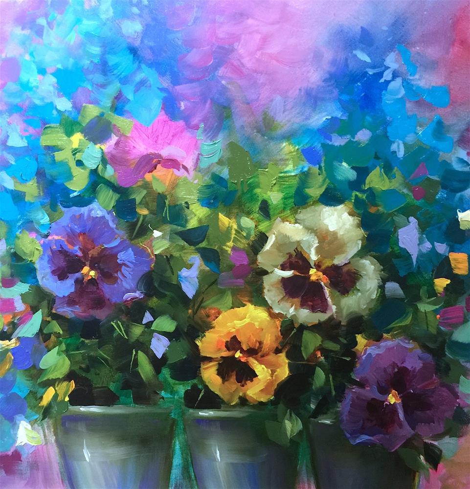 """Pansy Dance and a Spring Online Workshop"" original fine art by Nancy Medina"