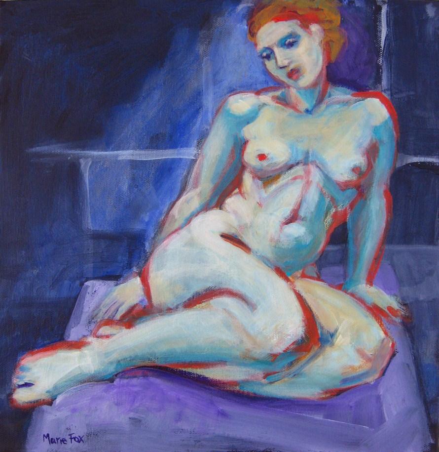 """Nude Figure Study of Woman, figurative original painting 4, figuration"" original fine art by Marie Fox"