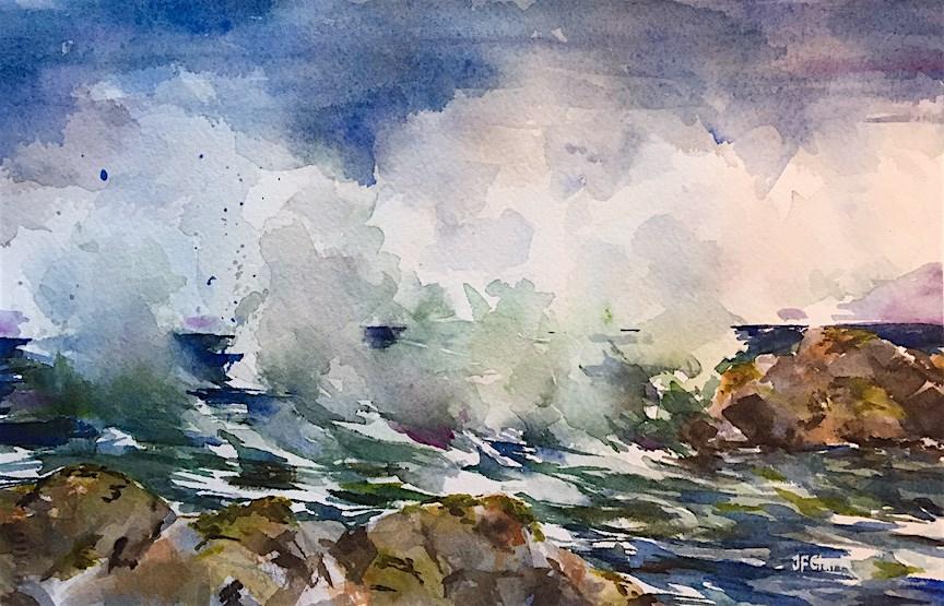 """Stormy Coastline"" original fine art by Judith Freeman Clark"