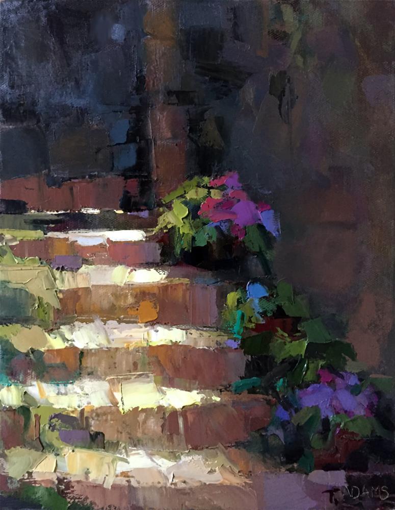 """Sun-Streaked Steps"" original fine art by Trisha Adams"
