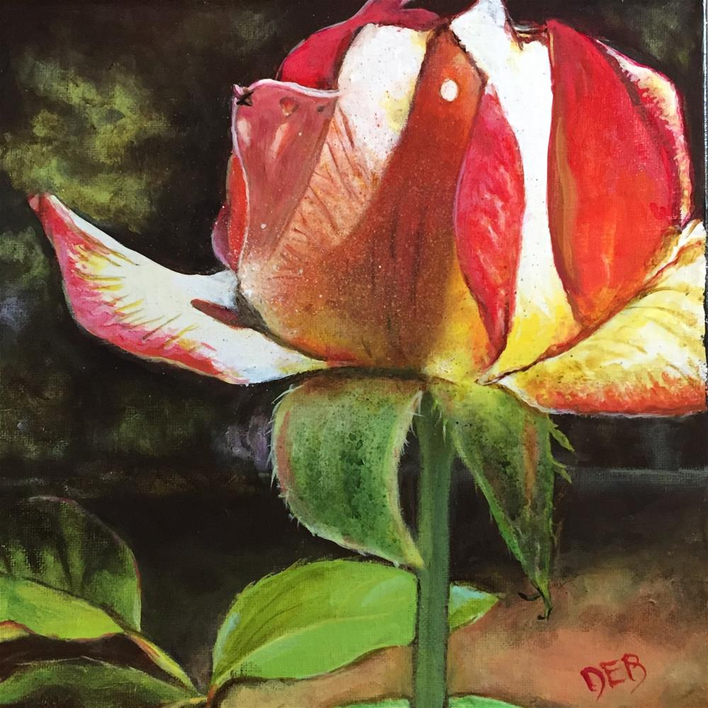 """Lit Up Rose"" original fine art by Debbie Yacenda"