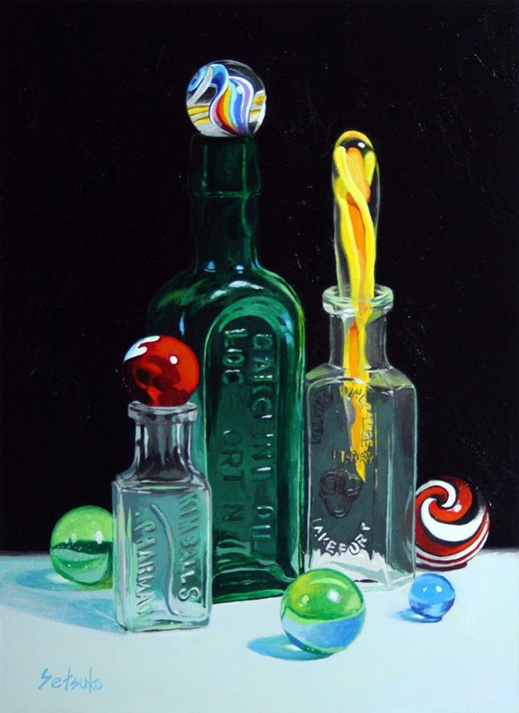 """""""Three bottles"""" original fine art by Setsuko Lawson"""