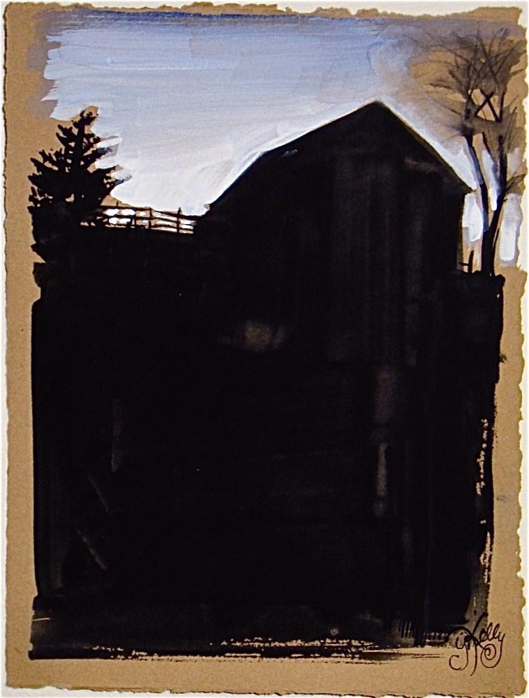 Dark Barn Silhouette by Gretchen Kelly, New York Artist- watercolor farm scene original fine art by Gretchen Kelly