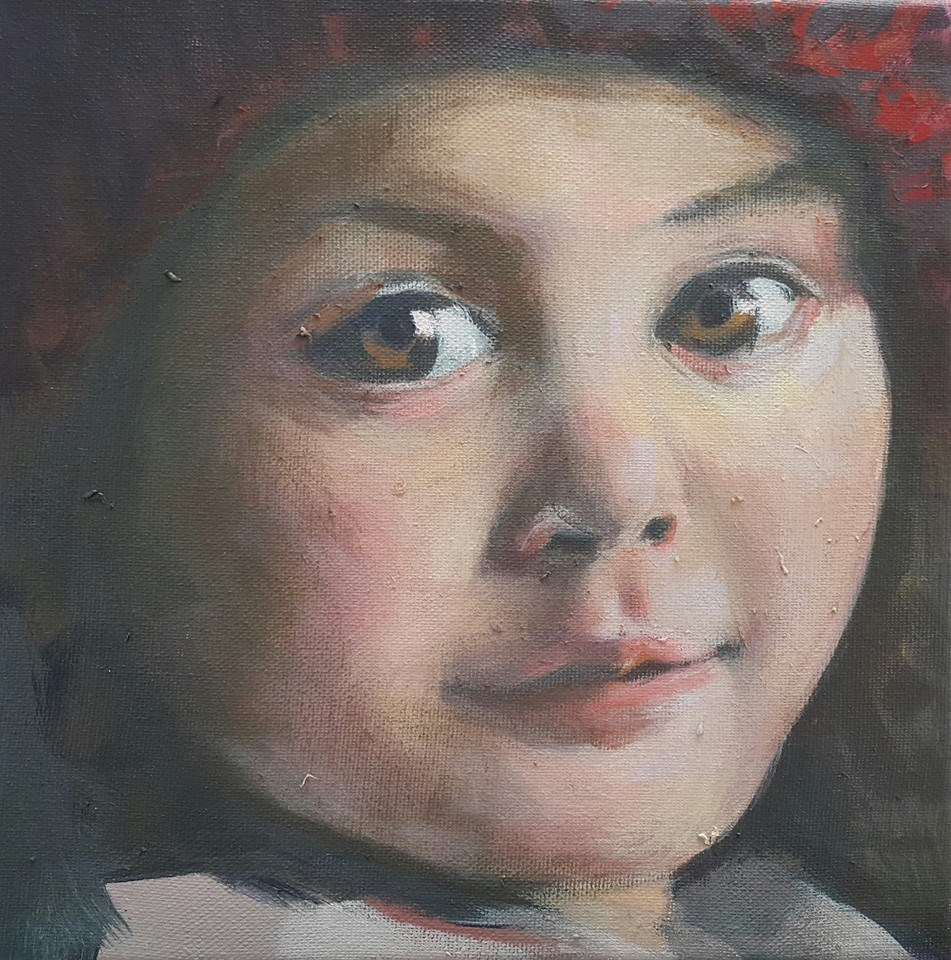 """Red beret"" original fine art by Rentia Coetzee"
