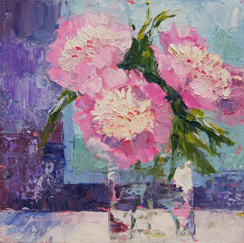"""Bowl of beauty, Peonies still life, oil palette knife painting"" original fine art by Marion Hedger"