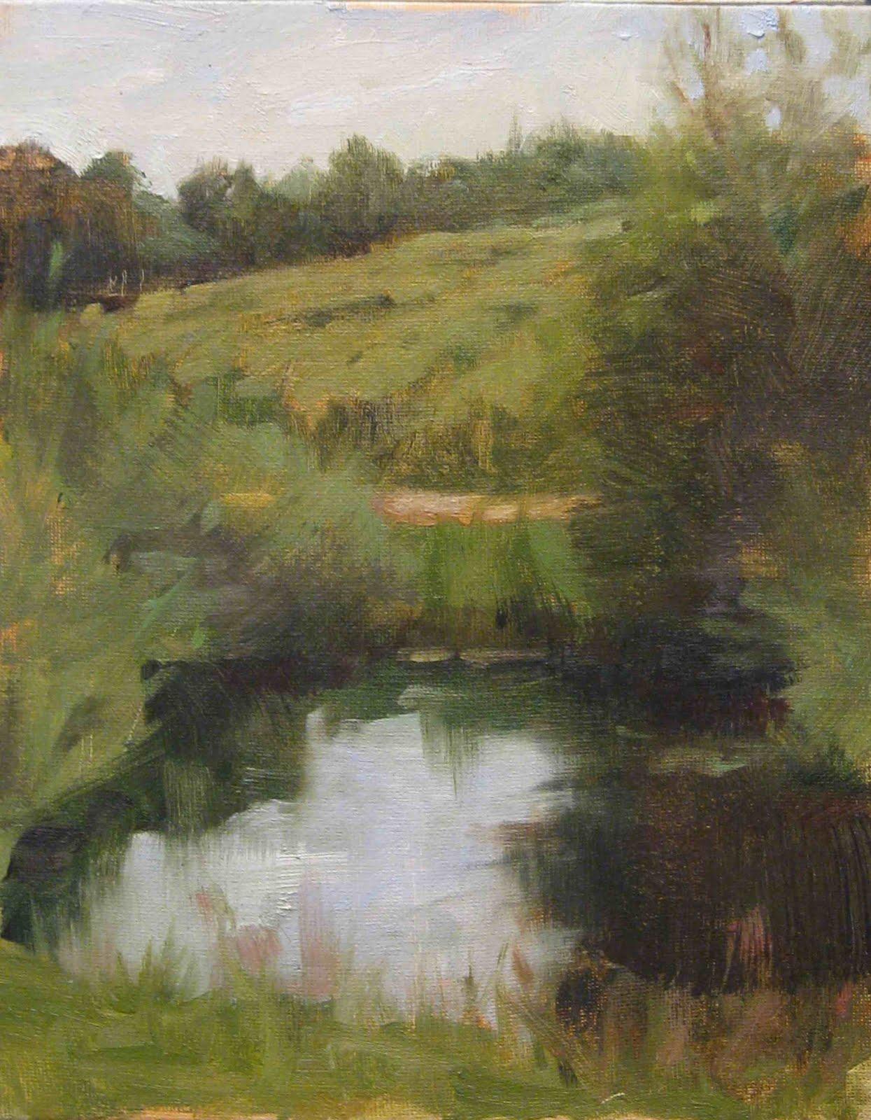 """A little pond oil/board, 10x8"" original fine art by Emiliya Lane"