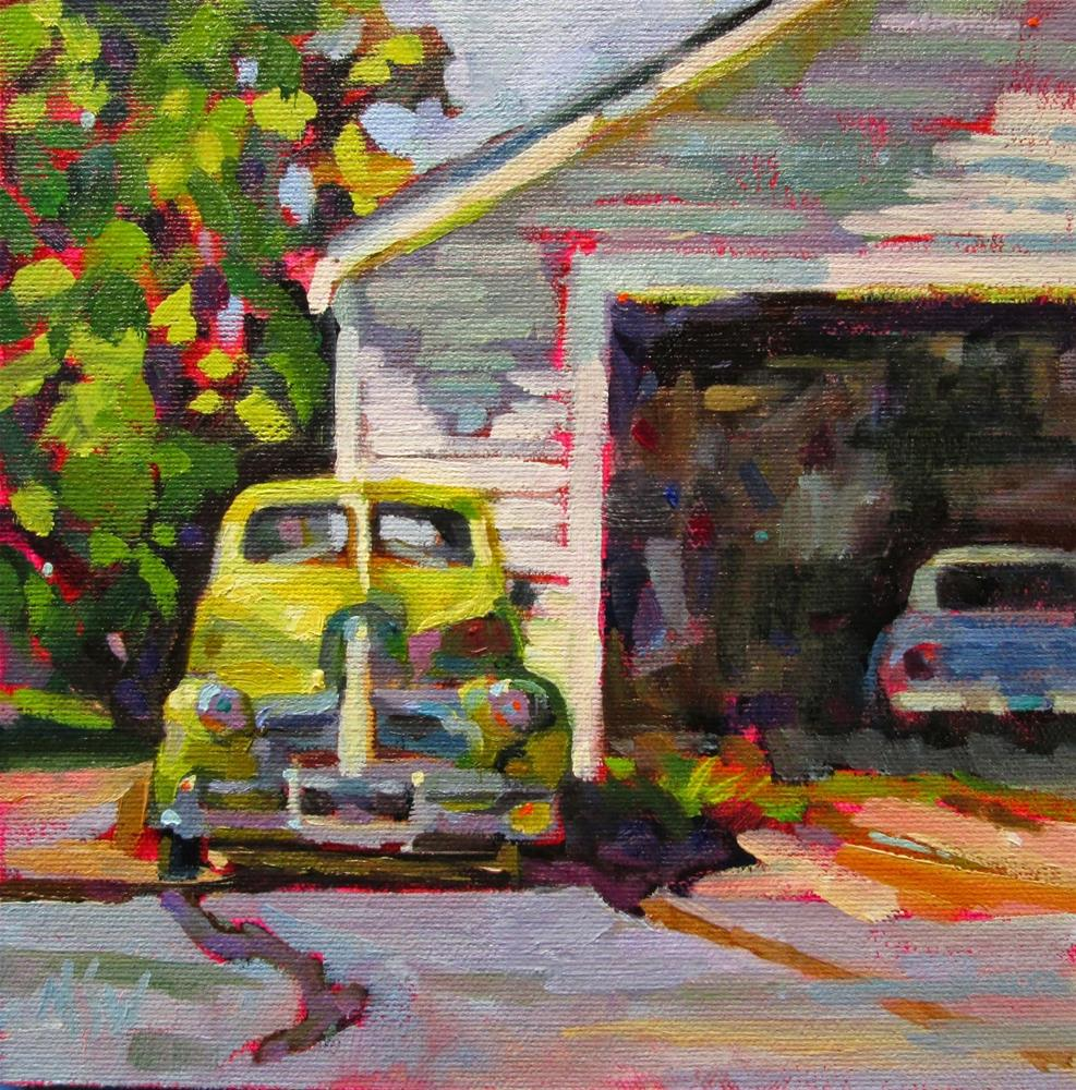 """Classic Oldie 8x8 oil on Pintura panel This old car is near my studio. Always wanted to paint it and love the peridot green color."" original fine art by Mary Sheehan Winn"