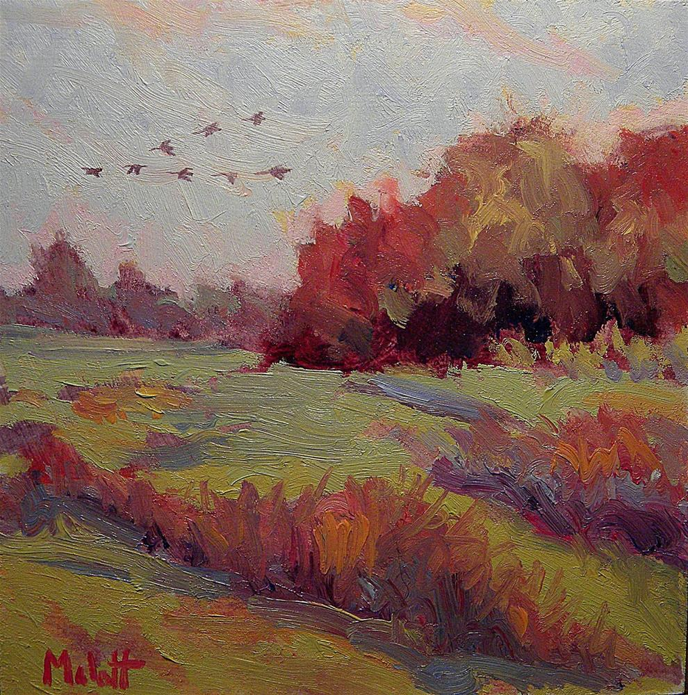 """Canadian Geese Fly South Autumn Landscape Revisited and Revised part of $80 sale/2008"" original fine art by Heidi Malott"