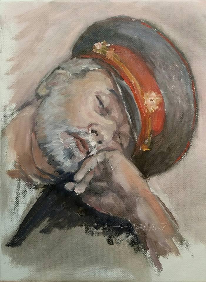 """Milicia In USSR quick sketch"" original fine art by Gabriella DeLamater"