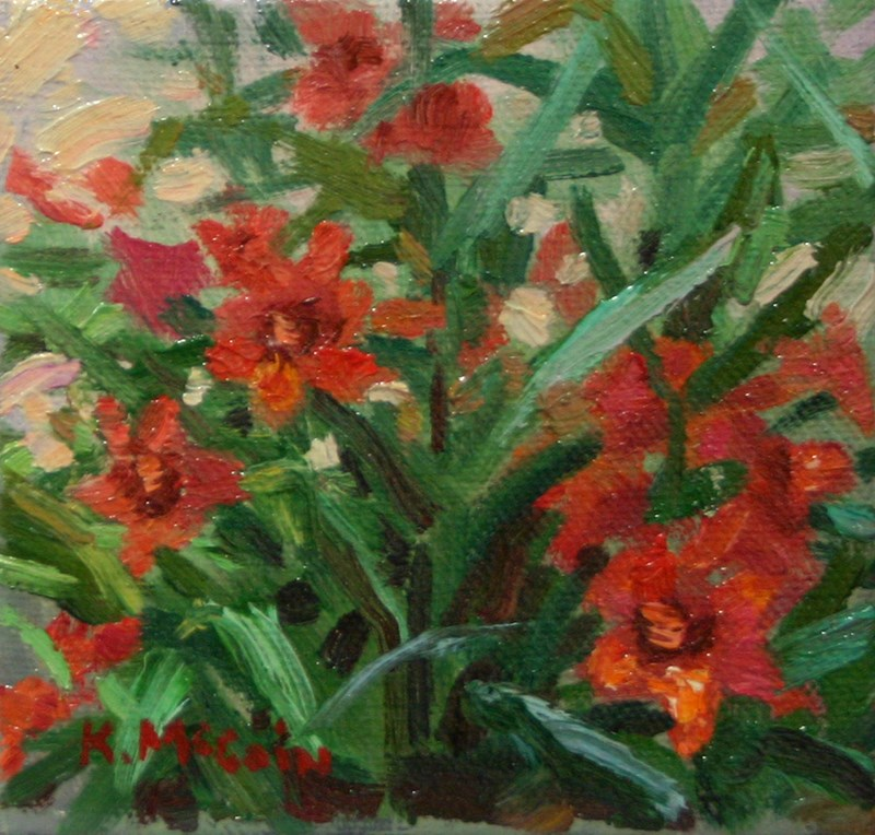 """Lillies in Red"" original fine art by K.R. McCain"