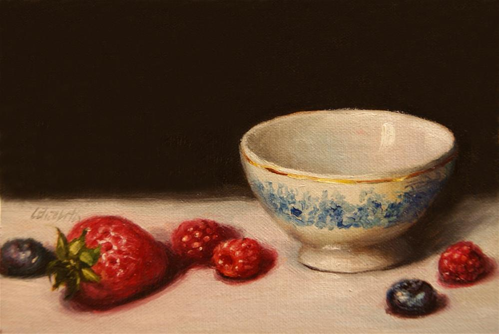 """Berries with Bowl Still Life,  Oil on 5x7 Linen Panel"" original fine art by Carolina Elizabeth"