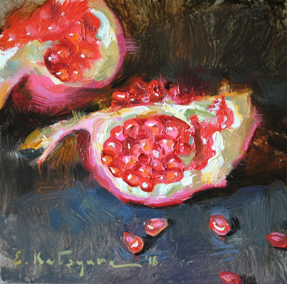 """Sliced Pomegranate"" original fine art by Elena Katsyura"