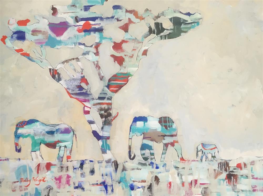 """""""Pachyderm Parade"""" original fine art by Molly Wright"""