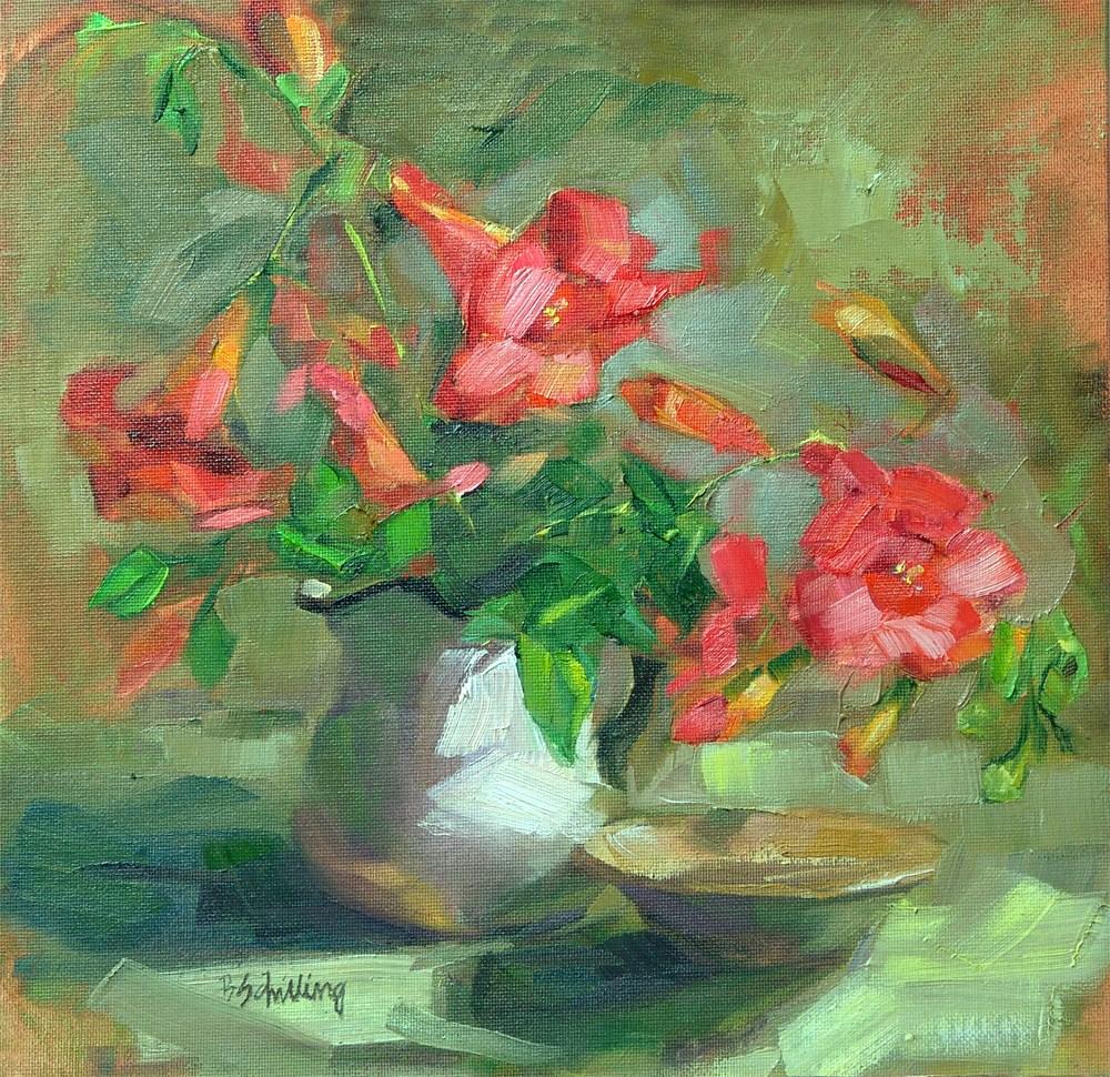 """Orange Turmpets"" original fine art by Barbara Schilling"