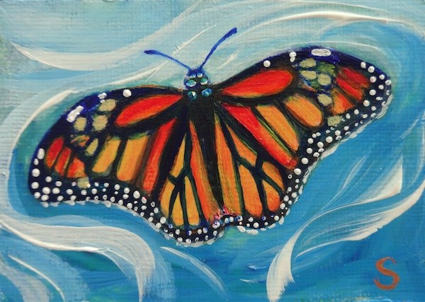"""4030 - BREEZY BUTTERFLY ACEO"" original fine art by Sea Dean"