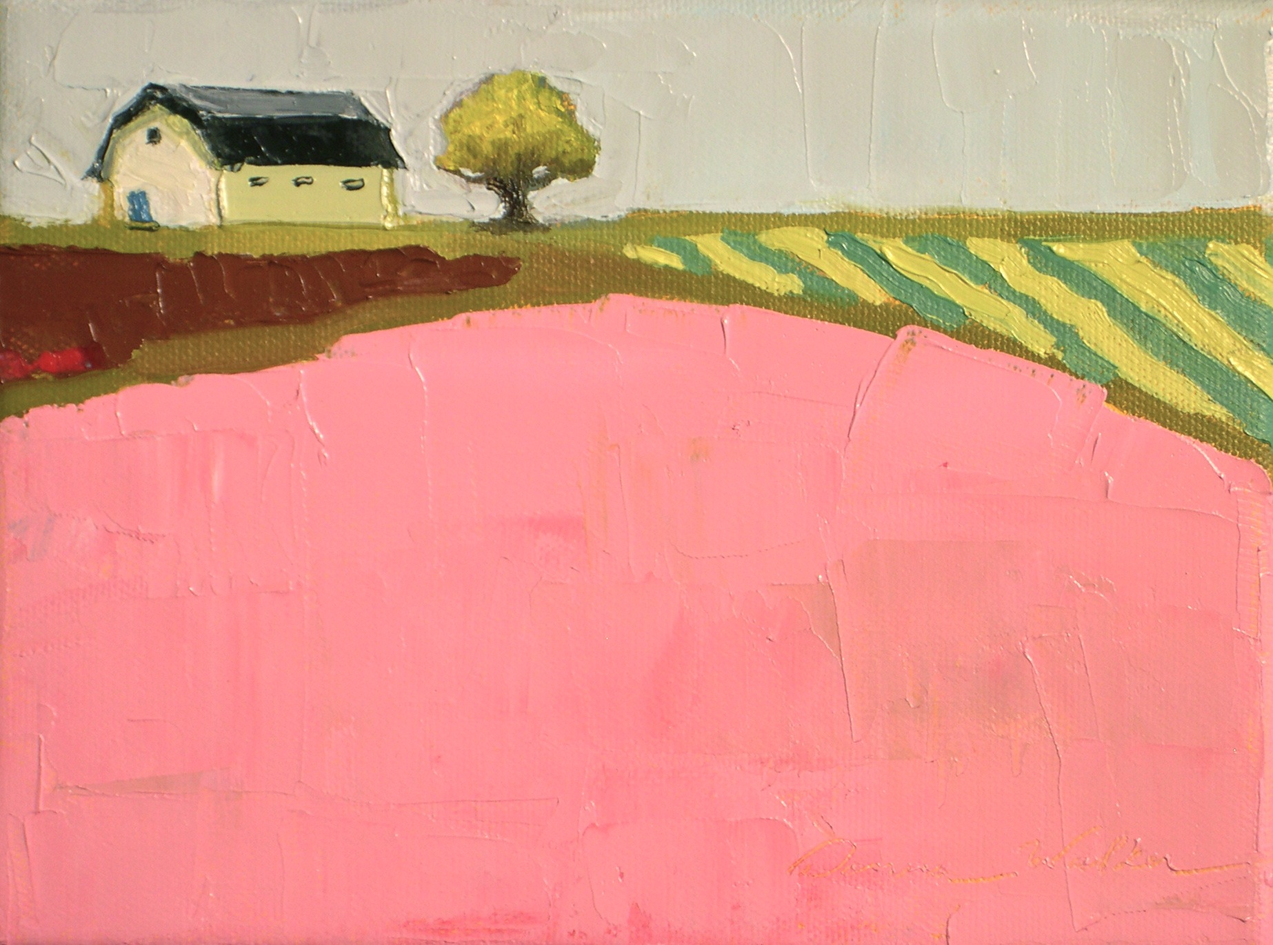 """Pink Fields"" original fine art by Donna Walker"
