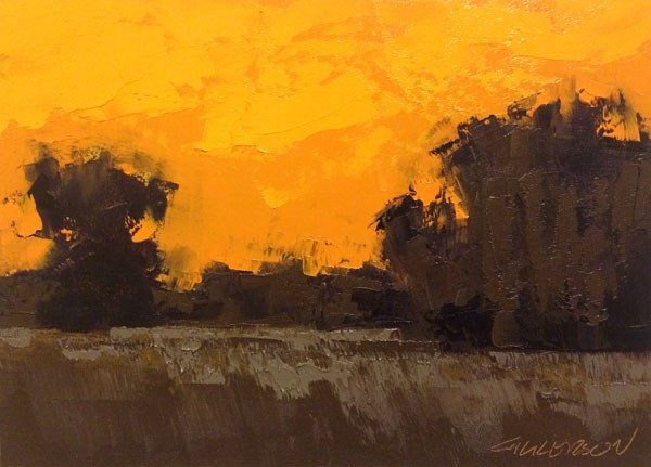 """Weston Fields, Winter Sunset"" original fine art by Mary Gilkerson"