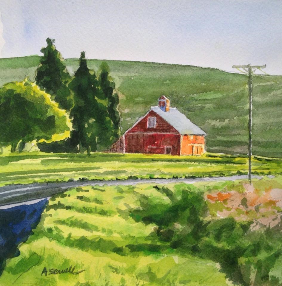 """""""Red Barn Road"""" original fine art by Andy Sewell"""