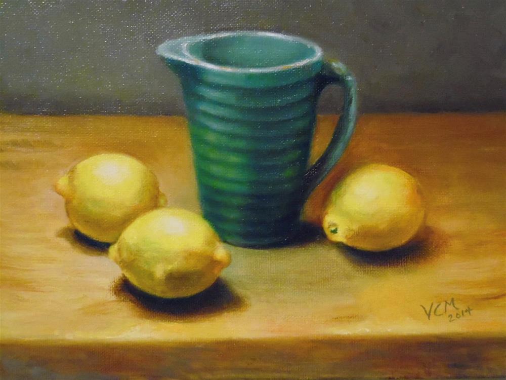 """McCoy Vase with Lemons"" original fine art by Vana Meyers"