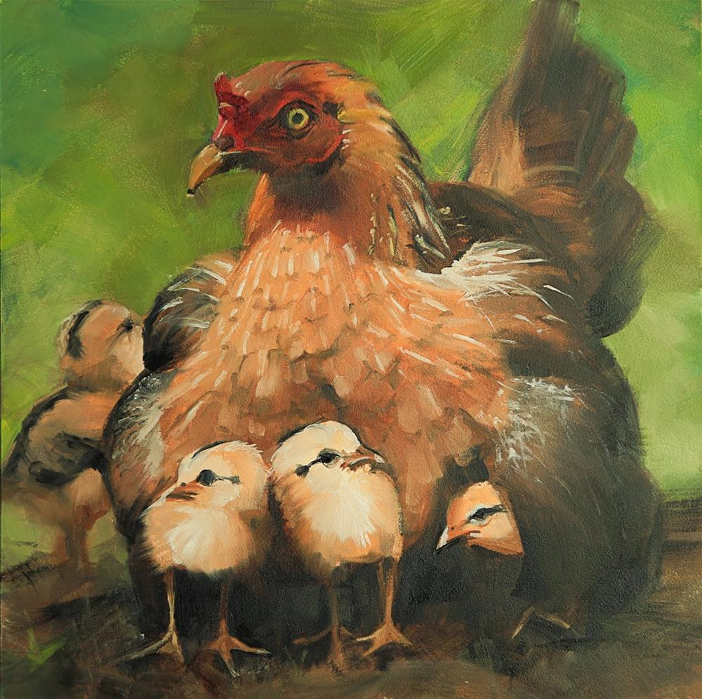 """Mama Hen by Beth Bathe"" original fine art by Beth Bathe"