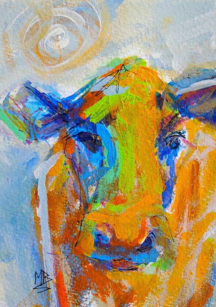 """Colorful Cow 1"" original fine art by Mary Schiros"