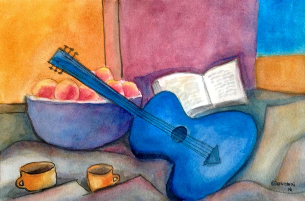 """Guitar, apples, book, and coffee"" original fine art by Giovanni Antunez"