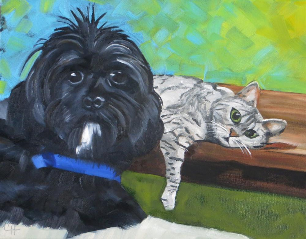 """Mylo and Bella"" original fine art by Claire Henning"