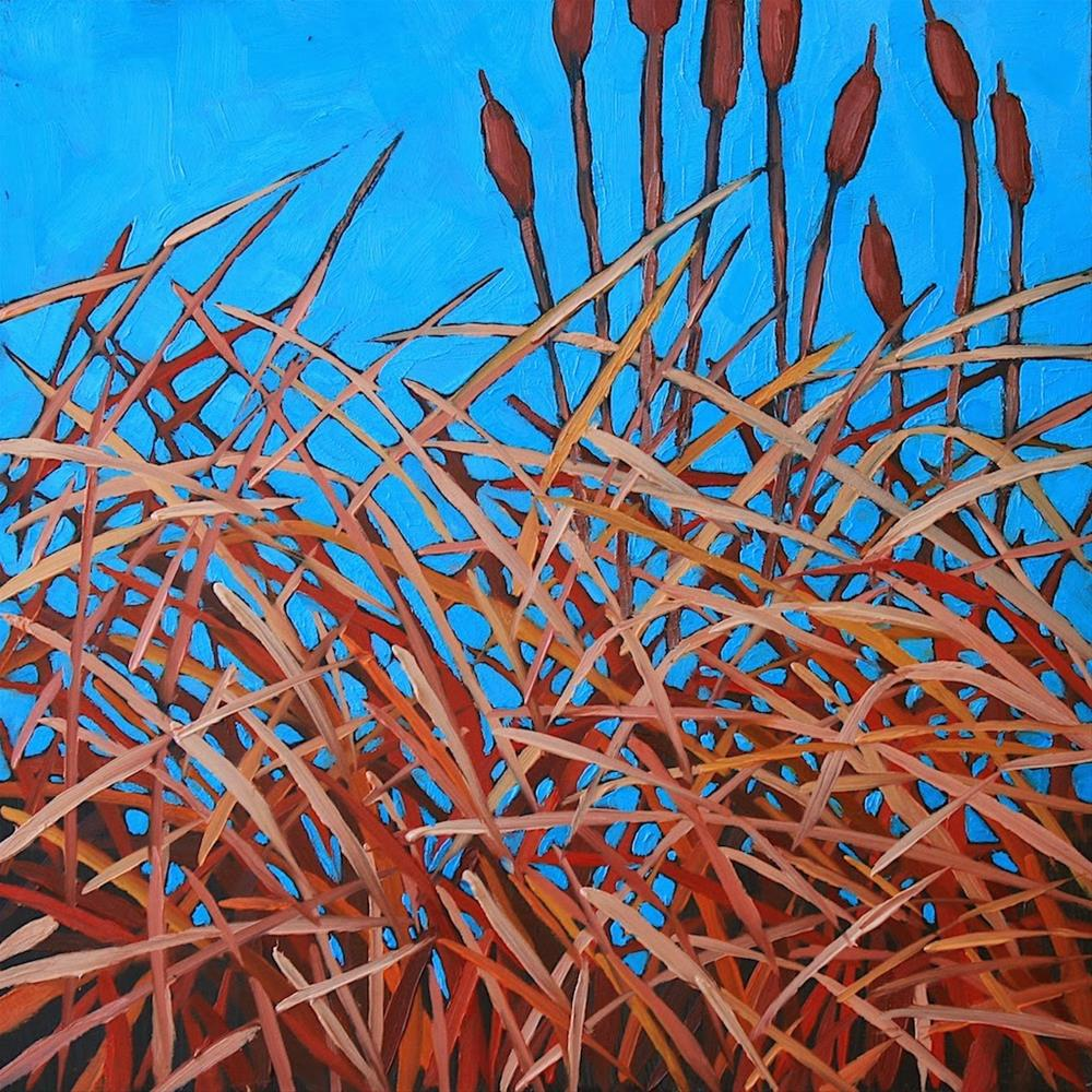 """Winter Cattails"" original fine art by Mary Anne Cary"
