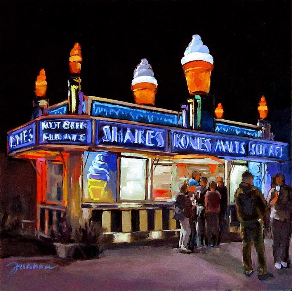"""Ice Cream Beacon--Series Painting of Fair Food Booth"" original fine art by Joanna Bingham"