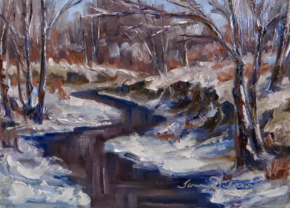 """Snow on the Creek Bank"" original fine art by Tammie Dickerson"