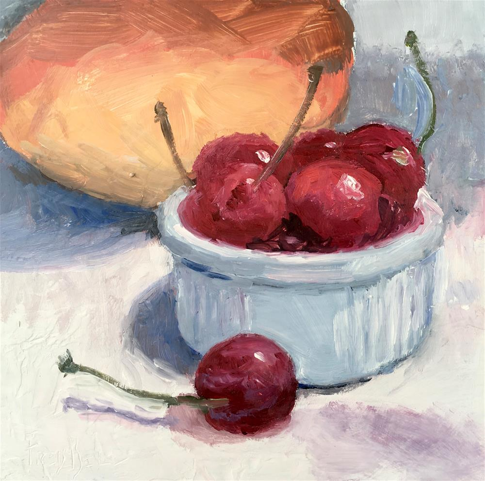 """043 Cherries And Mango, Daily Painting Ritual, 6x6, free shipping"" original fine art by Fred Bell"