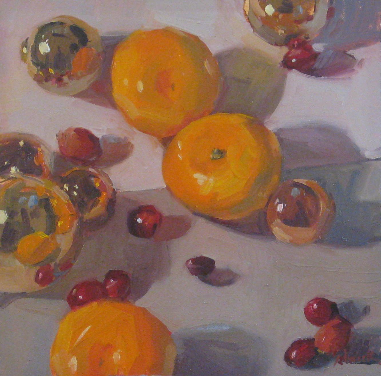 """Cranberry Orange Christmas"" original fine art by Sarah Sedwick"