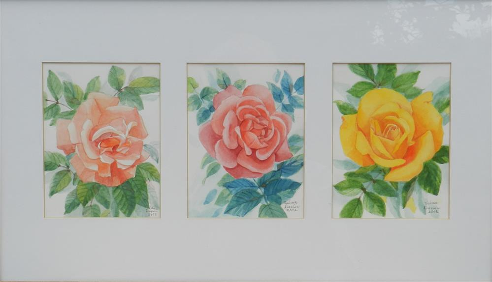 """Three Roses"" original fine art by Velma Davies"
