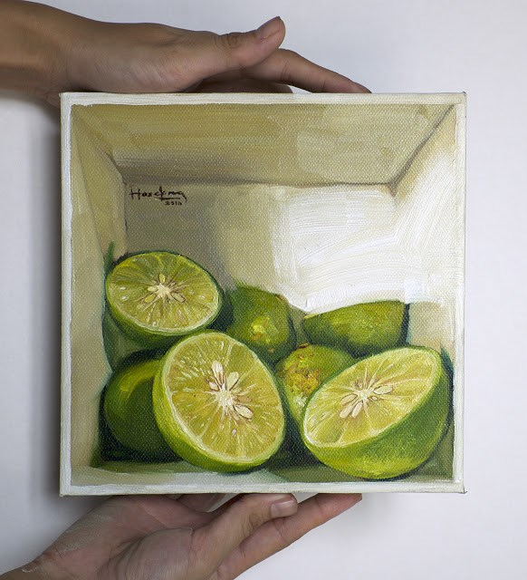 """Limes in a box"" original fine art by Haze Long"