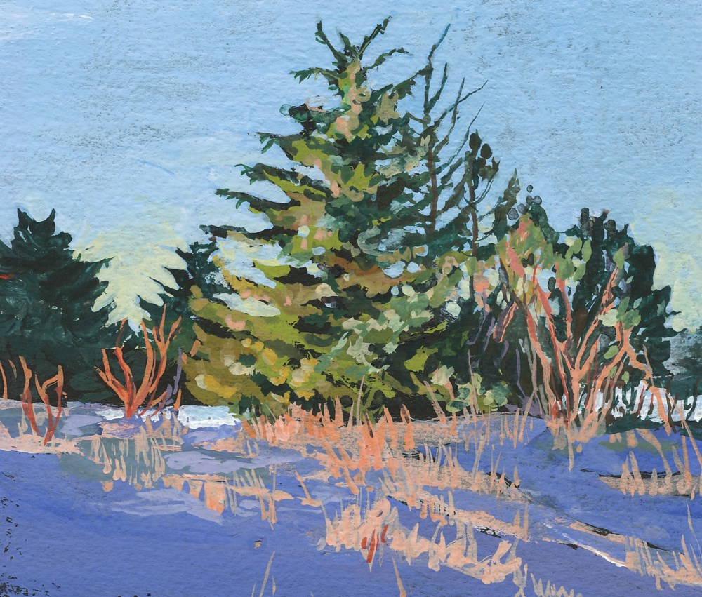"""Beach Trees in Winter"" original fine art by Carole Baker"