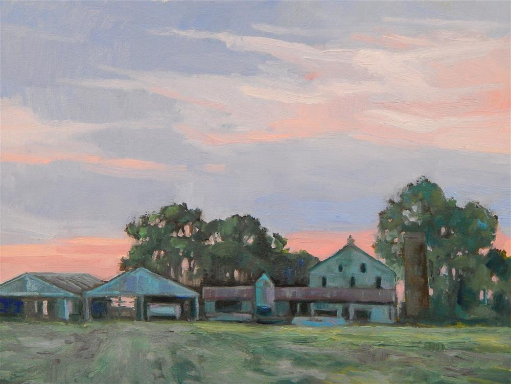 """Farm at Dusk"" original fine art by Lisa Kyle"