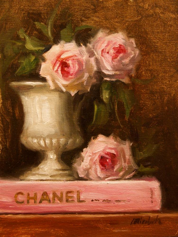 """Chanel Book with Pink Roses 6x8 Oil on Linen Panel unframed"" original fine art by Carolina Elizabeth"